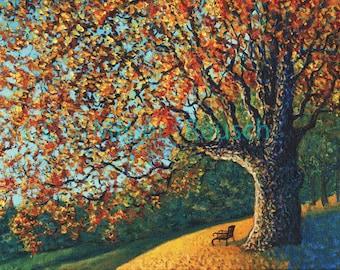 Autumn Sunrise at John Greenleaf Whittier Birthplace Signed Print by Mark Reusch