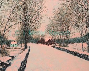 John Greenleaf Whittier Birthplace Quiet Snowfall Signed Print by Mister Reusch
