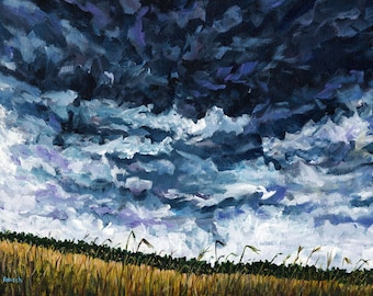 Stormy Sky Over Summer Fields at John Greenleaf Whittier Birthplace Original Acrylic Painting by Mark Reusch