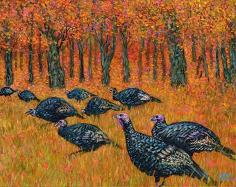 Wild Turkeys in Autumn at John Greenleaf Whittier Birthplace Signed Print by Mark Reusch