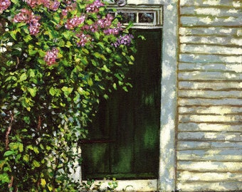 John Greenleaf Whittier Farmhouse Door with Spring Lilacs signed print