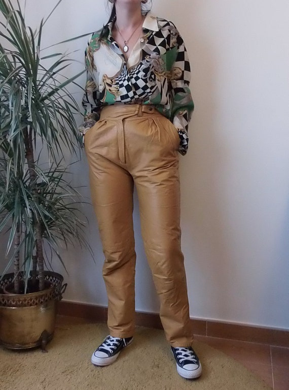 vintage leather pants / real leather mustard yello