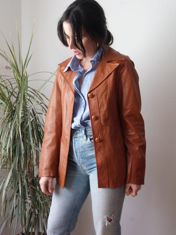 Vintage burnt orange leather jacket / 70's leather