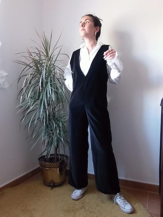 Handmade velvet brown jumpsuit / Vintage sleeveles