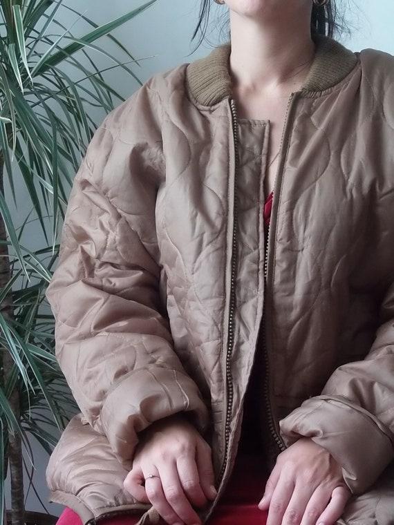 Army caramel brown liner Jacket surplus Vintage /