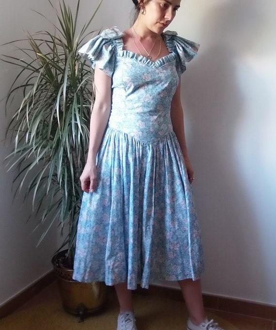 Vintage floral prairie dress / Vintage blue midi p