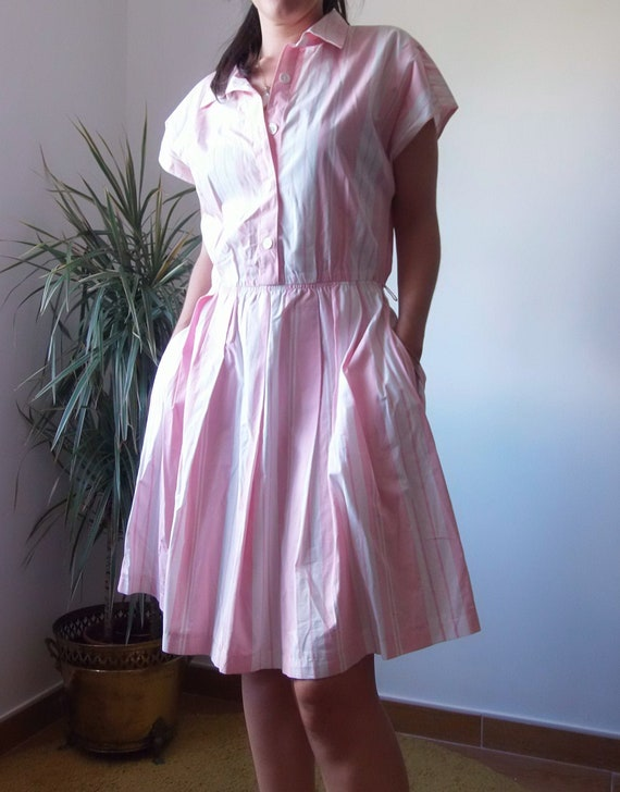 50's pink dress / striped vintage pink dress / 50… - image 6