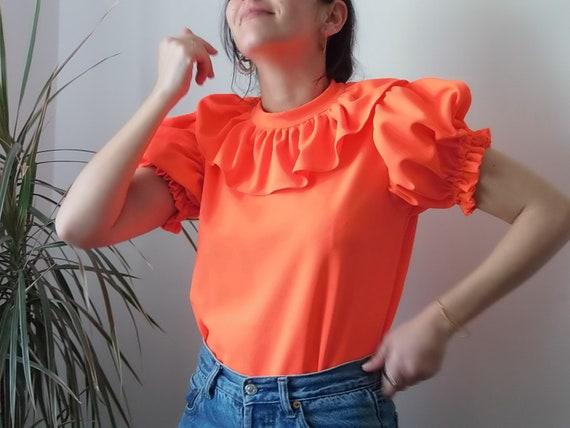 Vintage handmade neon orange prairie blouse / Brig