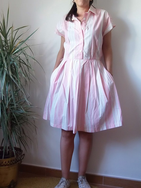 50's pink dress / striped vintage pink dress / 50… - image 3