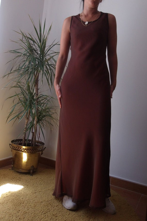 Bias cut maxi dress / Chocolate brown maxi dress /