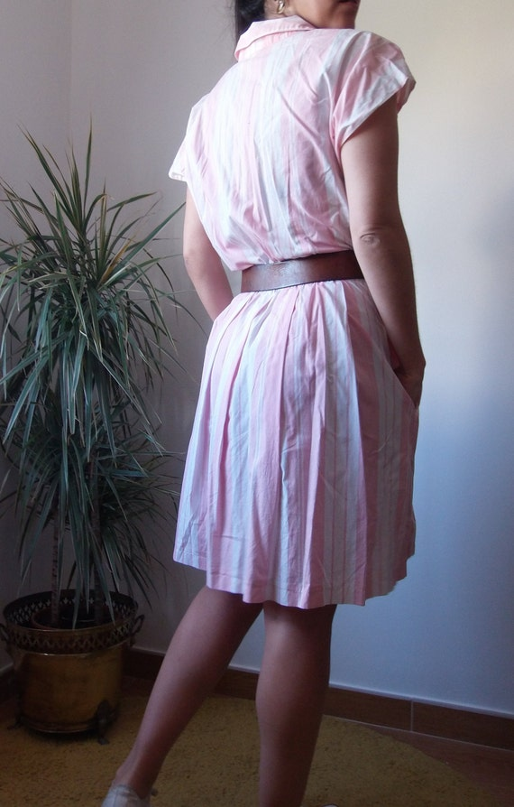 50's pink dress / striped vintage pink dress / 50… - image 9