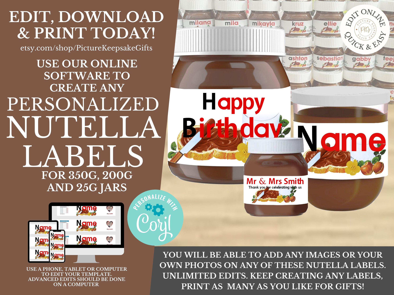 Personalised Nutella Jar Label Digital File Nutella Label Printable Make Unlimited Nutella Jar Labels Instant Edit Online Nutella Jar