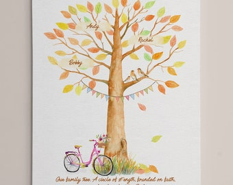 Personalised family tree home decor print mothers day gift mum fathers day grandparent keepsake