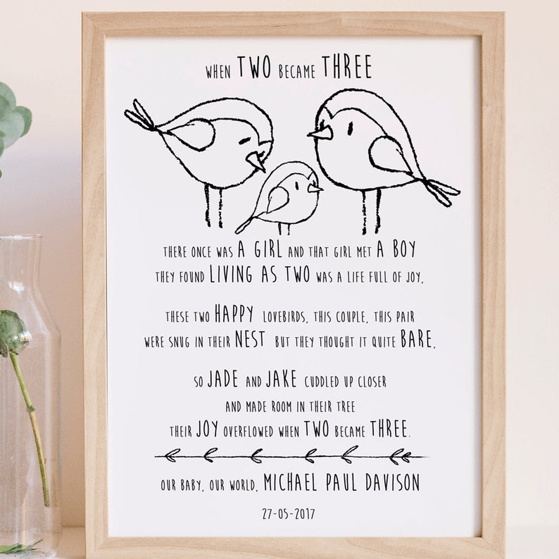 5095c7d90 When two became three baby poem gifts for a new mum baby