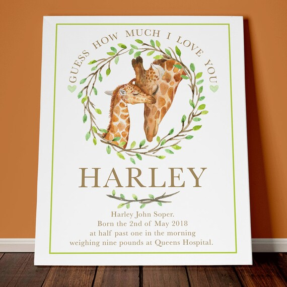 Personalised animal themed nursery mummy and baby quotes Giraffe theme  picture baby boy kids keepsake newborn gifts childrens bedroom