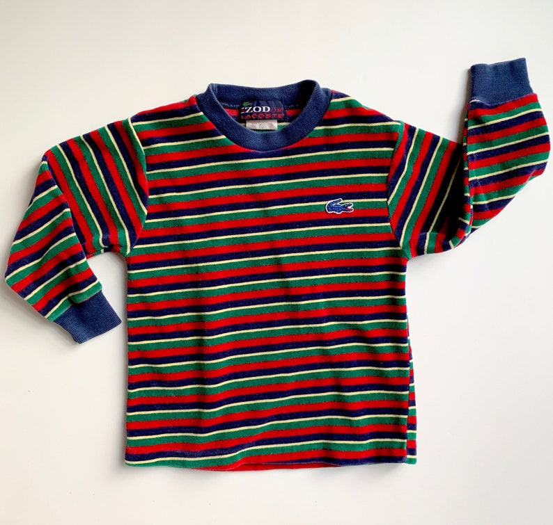 152d6f0c Vintage Izod Lacoste Striped Red Green Blue and Yellow Velour | Etsy