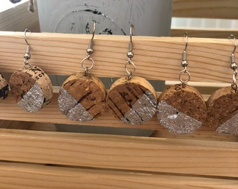 Slant wine cork earrings