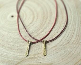 Brass stick leather necklace - Boho leather necklace