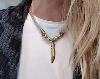 Feather cord necklace - boho necklace