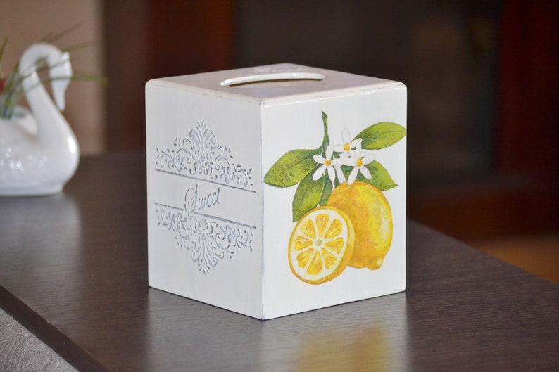 Lemon Kitchen Decor Wood Tissue Box Napkin Holder Breakfast Etsy