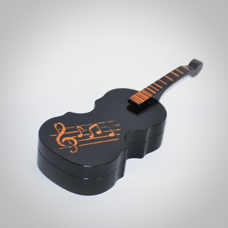 Wooden violin jewelry box Miniature guitar unique engagement ring box Music  teacher gift Wood jewellery storage Black gold music lover gift