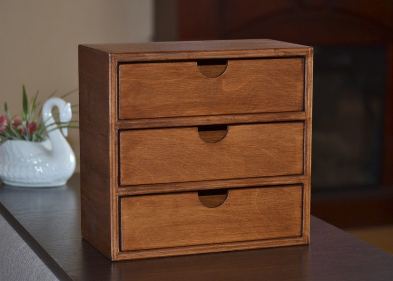 Rustic Décor Chest Drawers Wood Desk Organizer Jewelry Brown Etsy