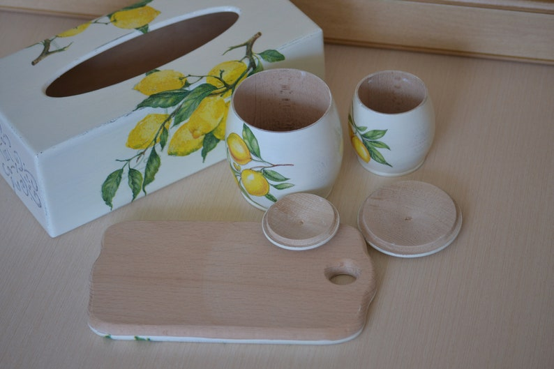 Wooden lemon decor tissue box cover Kleenex Wood kitchen canister Shabby chic yellow cottage Home storage Lavender gift for wife