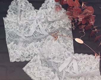 5c032e07cda SALE! Beautiful Bralette French Knicker Set in White Ivory Floral Lace with  Pretty Satin Ribbon Tie  Handmade by Me