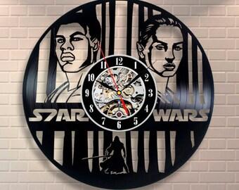 Star Wars Art Leia Organa Wall Clock Modern Clock Vintage Darth Vader Vinyl Record Clock Birthday Gift For Men Luke Skywalker Room Decor