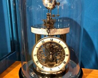 Celeste Mantel Planetary Glass Dome Mechanical Clock in Ebony Finish