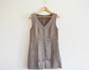 Vintage 1990s patchwork grey brown faux suede dress