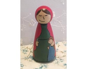 Saint Anne Wooden Peg Doll
