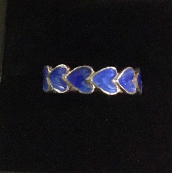 Blue Enamelled Hearts Ring