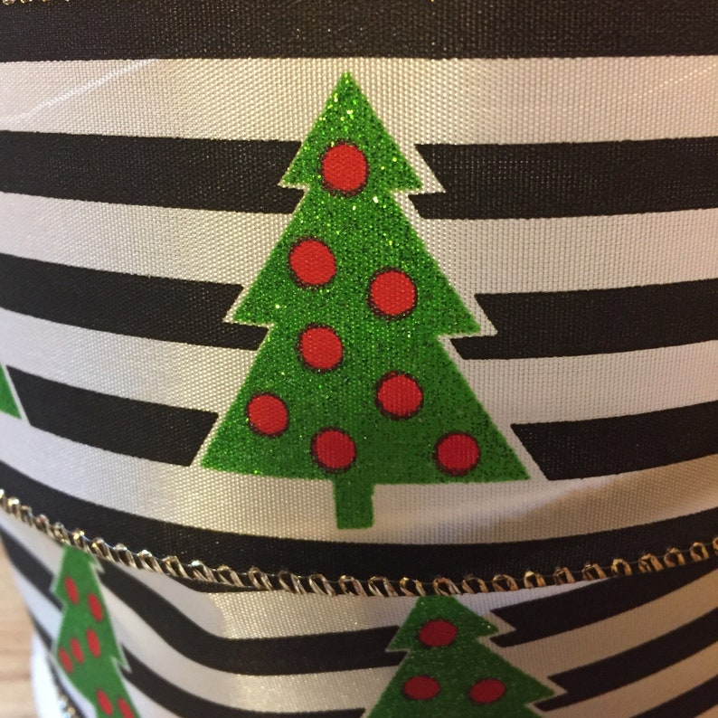 Christmas Ribbon 10 yds Christmas Ribbon Satin 5 yds Christmas Ribbon Wired  2.5  Black and White Stripe Sparkly Christmas Tree Ribbon