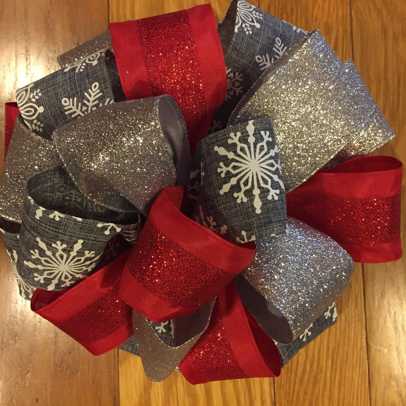 Christmas Gift Wrapping Ribbon Glitter Snowflake Sheer Decorations Crafts Decor
