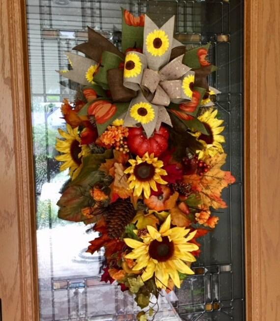 Charmant Fall Swag Wreath Fall Swag Fall Wreath Front Door Fall | Etsy
