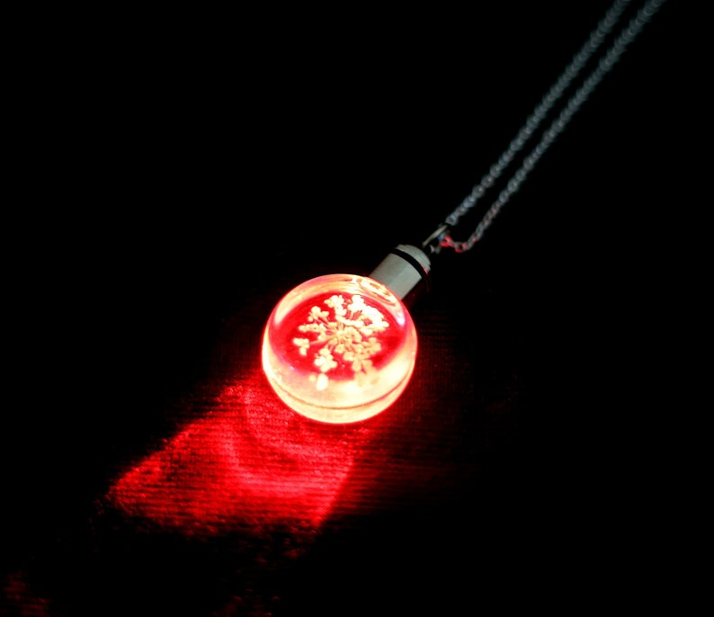 Glowing Pressed Flower Necklace Light Up LED FashionTech image 0