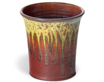 Red Ceramic Utensil Holder / Handmade Spoon Holder / 6 Inch Utensil Crock / Kitchen Decor / Wedding Kitchen Gift / Mothers Day Pottery Gift