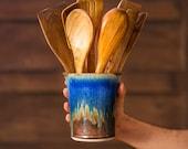 Ceramic Utensil Holder / Pottery Utensil Crock in Amber Blue, Ceramic Flower Pot, Great as a New House Gift