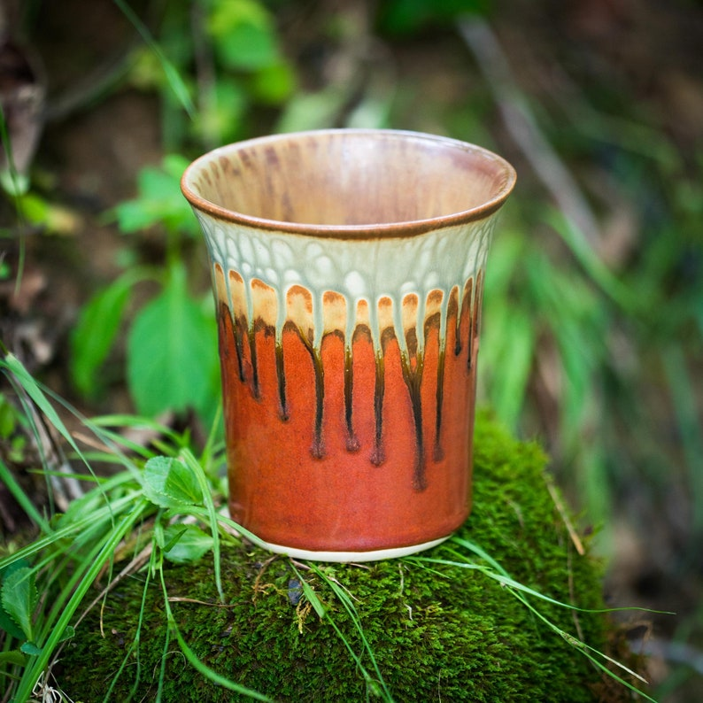 Also great as a Ceramic Flower Pot Straight Large Ceramic Vase  Utensil Holder in Rustic Red /& Green
