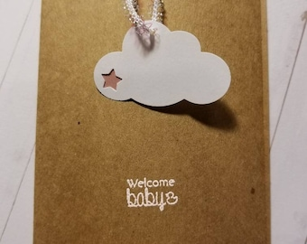 Welcome baby girl, baby card, baby girl, baby shower card, cloud