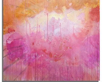 """BRIGHT TROPICAL ABSTRACT Colorful Splatter Original Acrylic Painting Pinks Oranges Wall Art Modern Sunrise 36""""x36"""""""
