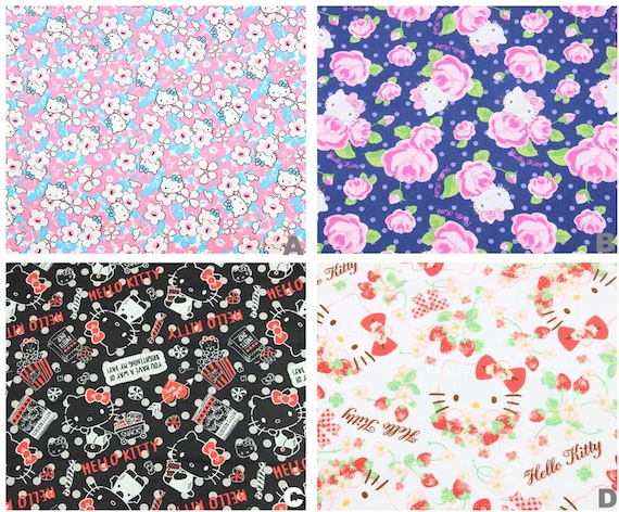 Disney HELLO KITTY Cat Print 100/% Cotton Craft Fabric Material Per Metre