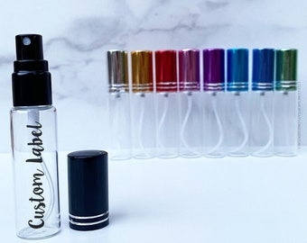 10 ml EMPTY Essential Oil Spray Bottle with Customized Vinyl Label | 10ml Glass Spray Bottle | Aluminum Spray Top | Essential Oil Accessory