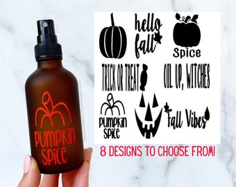 Fall Inspired Glass Spray Bottle | 4 oz Frosted Amber Glass Spray Bottle | Fall Essential Oil Label | Pumpkin Spice Spray Bottle