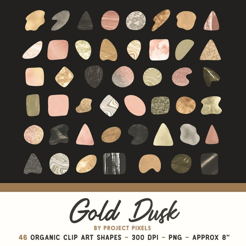 Design Assets Organic Shapes Clip Art Warm Gold Clip Art PNG Texture Clip Art Digital Download Design Elements Gold Dusk Modern Art