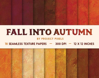 Fall Into Autumn, Fall Color Paper, Digital Paper, Paint Texture, Seamless Patterns, Digital Download, Scrapbooking Paper, Collage Art Paper