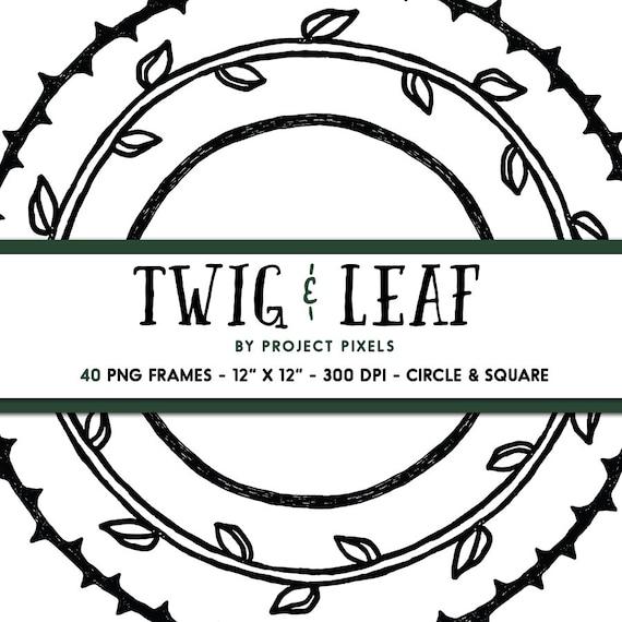 Twig and Leaf Border Clipart Doodle Frames Wreath Frames   Etsy