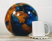 BLUE BALI RESIN Globe, Natural Resin Art, Handmade Resin Art, Resin Globes, Resin Spheres, Resin Wood Art, Bali Teak Resin Balls, Teak Resin