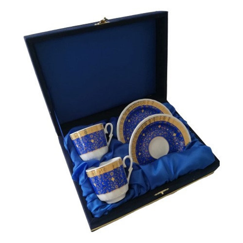 Turkish Coffee Gift Set with Velvet Box Turkish Coffee Set Christmas Gift Set Turkish Porcelain Coffee Set for Two
